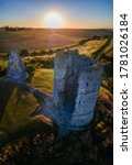 Small photo of Beautiful morning sunrise at Hadleigh Castle hills