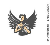angel with pencil and book logo ... | Shutterstock .eps vector #1781065304