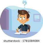 school boy having questions...   Shutterstock .eps vector #1781084084