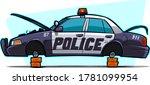police car with stolen tires.... | Shutterstock .eps vector #1781099954