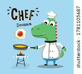 dinosaur the cool chef funny... | Shutterstock .eps vector #1781105687