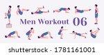 Workout Men Set. Men Doing...