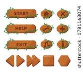 wood buttons set. vector gui...