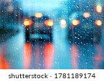Drops On Glass Auto Road Rain...