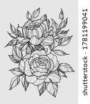 tattoo branch of flowers.... | Shutterstock . vector #1781199041
