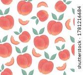watercolor seamless peach...   Shutterstock .eps vector #1781216684