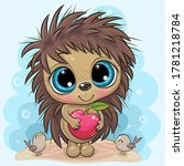 cute cartoon hedgehog with... | Shutterstock .eps vector #1781218784