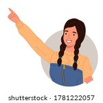 young smiling woman pointing...   Shutterstock .eps vector #1781222057