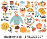 autumn icons set  falling... | Shutterstock .eps vector #1781328227