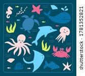 cute kids style hand drawn sea... | Shutterstock .eps vector #1781352821
