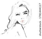 hand drawn beautiful woman face ... | Shutterstock .eps vector #1781444117