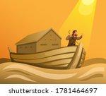 Noah In Ark In Great Flood In...
