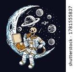 Astronaut Eat Pizza On The Moon ...