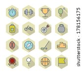 thin line icons for sport.... | Shutterstock . vector #178156175