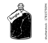 glass bottle with zodiac... | Shutterstock .eps vector #1781575094