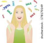 happy young woman with sale... | Shutterstock .eps vector #178170149