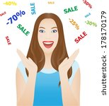happy young woman with sale... | Shutterstock .eps vector #178170179