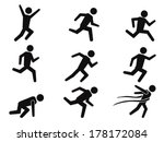 runner stick figure icons set | Shutterstock .eps vector #178172084
