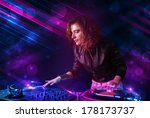 beautiful young dj playing on... | Shutterstock . vector #178173737