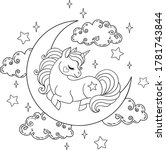 magical unicorn sleeping on the ... | Shutterstock .eps vector #1781743844