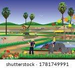 farmer work in paddy field... | Shutterstock .eps vector #1781749991