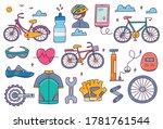 bicycle equipment doodle set... | Shutterstock .eps vector #1781761544