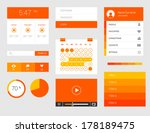 ui kit of beautiful flat thin...