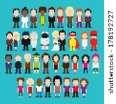 big set of pixel art people | Shutterstock .eps vector #178192727