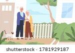 elderly couple hugging standing ... | Shutterstock .eps vector #1781929187
