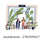 happy man working at small shop ... | Shutterstock .eps vector #1781929217
