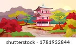 asian pagoda flat color vector...
