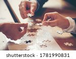Small photo of Implement improve puzzel solve connections together with synergy strategy team building organizing connection by trust communication. Hands of stakeholders business trust team holding jigsaw puzzle