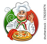 cook hot pizza. vector...