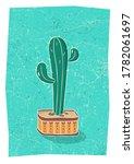 cactus in hand drawn flower pot....   Shutterstock .eps vector #1782061697