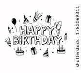 happy birthday text with doodle ... | Shutterstock .eps vector #1782069311