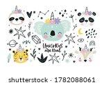 cute animals unicorns in the... | Shutterstock .eps vector #1782088061