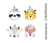 cute animals unicorns in the... | Shutterstock .eps vector #1782090524