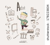 cute vector alphabet profession.... | Shutterstock .eps vector #178223834