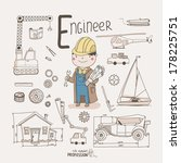 cute vector alphabet profession.... | Shutterstock .eps vector #178225751