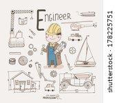 cute vector alphabet profession.... | Shutterstock .eps vector #178225751