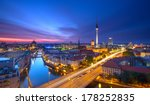 Stock photo berlin skyline city panorama with blue sky sunset and traffic famous landmark in berlin germany 178252835