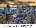 Kobe, Japan city skyline viewed towards the Harborland district. - stock photo