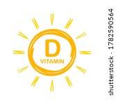 vitamin d icon with sun. vector ... | Shutterstock .eps vector #1782590564