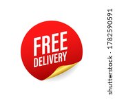 free delivery. badge with truck.... | Shutterstock .eps vector #1782590591