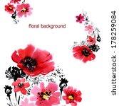 Red Floral Background Motive