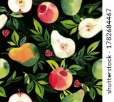 watercolor pattern with pears... | Shutterstock . vector #1782684467