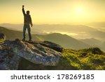 winner on mountain peak. active ...   Shutterstock . vector #178269185