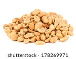 Heap Of Salted Peanuts On White