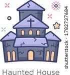 a cartoon haunted house  flat... | Shutterstock .eps vector #1782737684