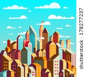 colorful city at daylight... | Shutterstock . vector #178277237